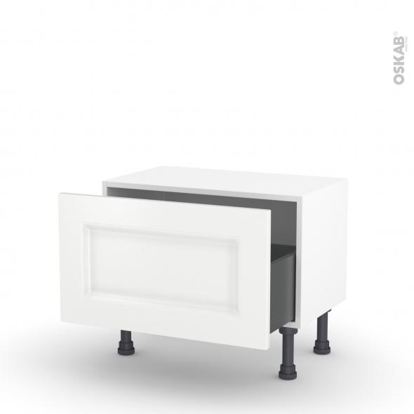 Meuble de cuisine - Bas - STATIC Blanc - 1 casserolier - L60 x H35 x P37 cm