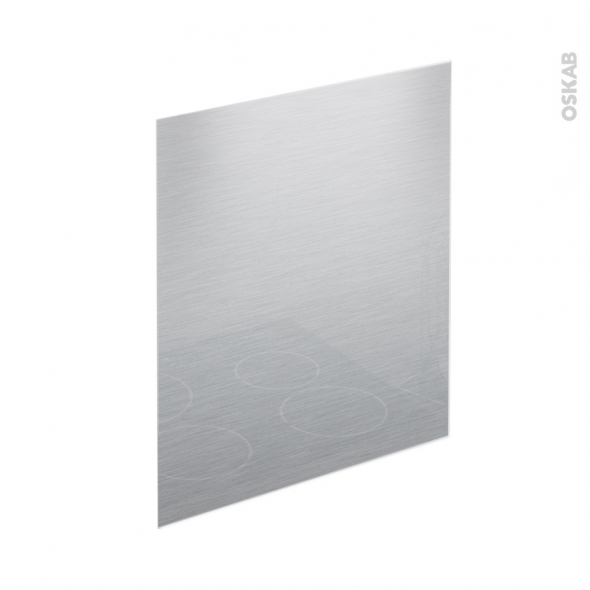 Fond de hotte cuisine - Verre finition Inox - L60 x H65 x E0,4 cm - PLANEKO