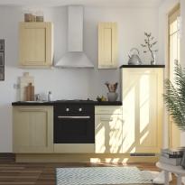 SOKLEO - Cuisine complète 2m20 - sans électroménager - BASILIT Bois Verni