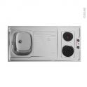 Bloc évier pour kitchenette - plaque de cuisson électrique - L120 x P60 cm - SOKLEO