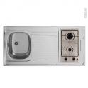 Bloc évier pour kitchenette - plaque de cuisson gaz - L120 x P60 cm - SOKLEO