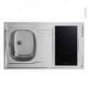 Bloc évier pour kitchenette - plaque de cuisson induction - L100 x P60 cm - SOKLEO
