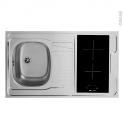 Bloc évier pour kitchenette - plaque de cuisson vitrocéramique - 4 sécurités - L100 x P60 cm - SOKLEO