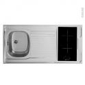 Bloc évier pour kitchenette - plaque de cuisson vitrocéramique - 4 sécurités - L120 x P60 cm - SOKLEO