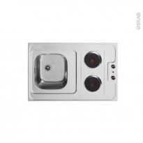 Bloc évier pour kitchenette - plaque de cuisson électrique - L90 x P60 cm - SOKLEO