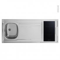 Bloc évier pour kitchenette - plaque de cuisson induction - L140 x P60 cm - SOKLEO