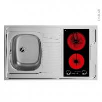 Bloc évier pour kitchenette - plaque de cuisson vitrocéramique - L100 x P60 cm - SOKLEO