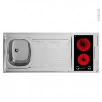 Bloc évier pour kitchenette - plaque de cuisson vitrocéramique - L140 x P60 cm - SOKLEO