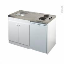 Kitchenette électrique - Meuble sous évier blanc - Avec Réfrigérateur - L120 x H93 x P60 cm - SOKLEO