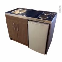 Kitchenette électrique - Meuble sous évier décor bois - Avec Réfrigérateur - L120 x H93 x P60 cm - SOKLEO