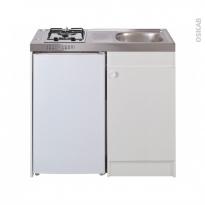 Kitchenette gaz - Meuble sous évier blanc - Avec Réfrigérateur - L100 x H93 x P60 cm - SOKLEO