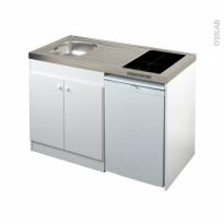Kitchenette induction - Meuble sous évier blanc - Avec Réfrigérateur - L120 x H93 x P60 cm - SOKLEO