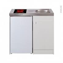 Kitchenette vitrocéramique - Meuble sous évier blanc - Avec Réfrigérateur - L100 x H93 x P60 cm - SOKLEO