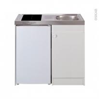 Kitchenette vitrocéramique - 4 sécurités - Meuble sous évier blanc - Avec Réfrigérateur - L100 x H93 x P60 cm - SOKLEO