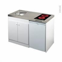 Kitchenette vitrocéramique - Meuble sous évier blanc - Avec Réfrigérateur - L120 x H93 x P60 cm - SOKLEO