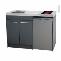 Kitchenette vitrocéramique - Meuble sous évier gris - Avec Réfrigérateur - L120 x H93 x P60 cm - SOKLEO