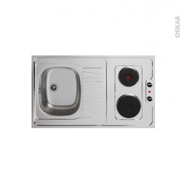 Bloc évier pour kitchenette - plaque de cuisson électrique - L100 x P60 cm - SOKLEO