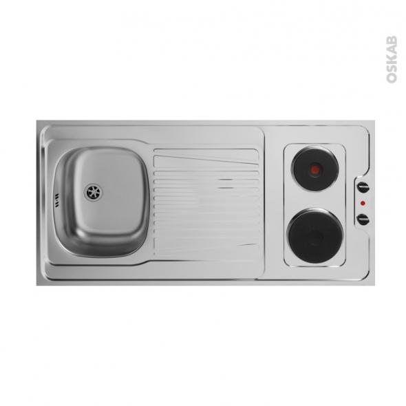 date de sortie: ce673 30ab9 Bloc évier pour kitchenette plaque de cuisson électrique L120 x P60 cm  SOKLEO - Oskab