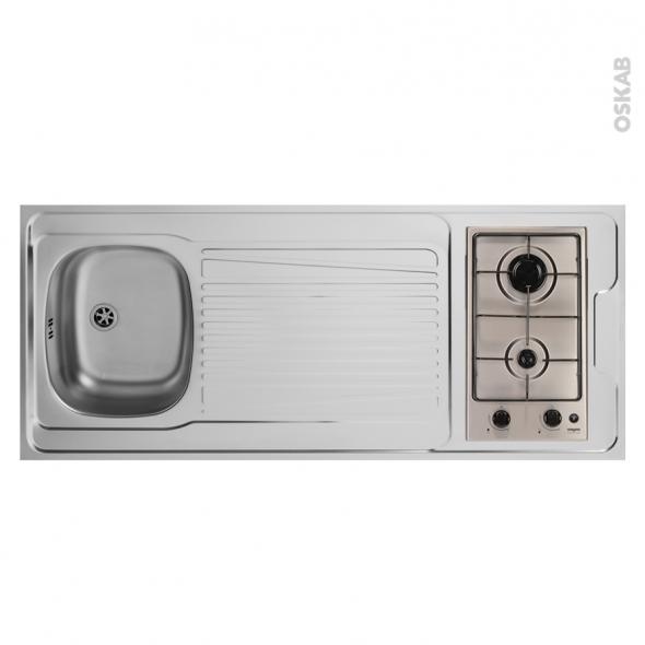 Bloc évier pour kitchenette - plaque de cuisson gaz - L140 x P60 cm - SOKLEO