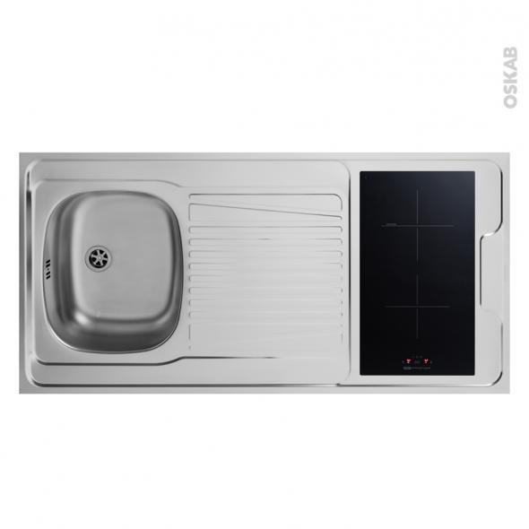 Bloc évier pour kitchenette - plaque de cuisson induction - L120 x P60 cm - SOKLEO