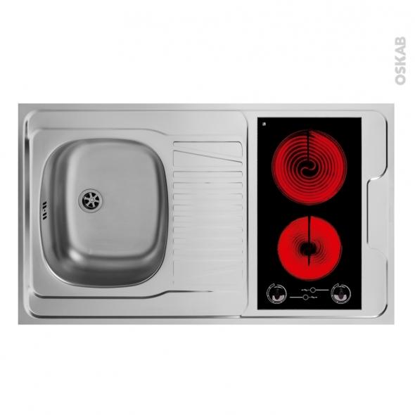 SOKLEO - Evier Kitchenette - Vitrocéramique - L100xP60