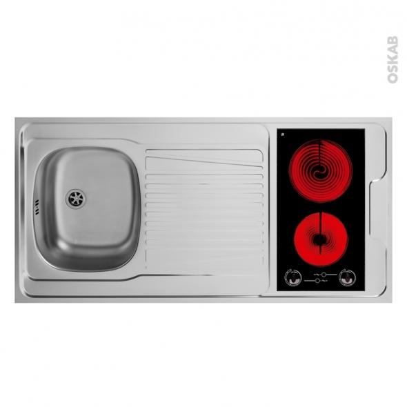 Bloc évier pour kitchenette - plaque de cuisson vitrocéramique - L120 x P60 cm - SOKLEO