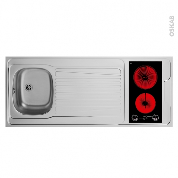SOKLEO - Evier Kitchenette - Vitrocéramique - L140xP60