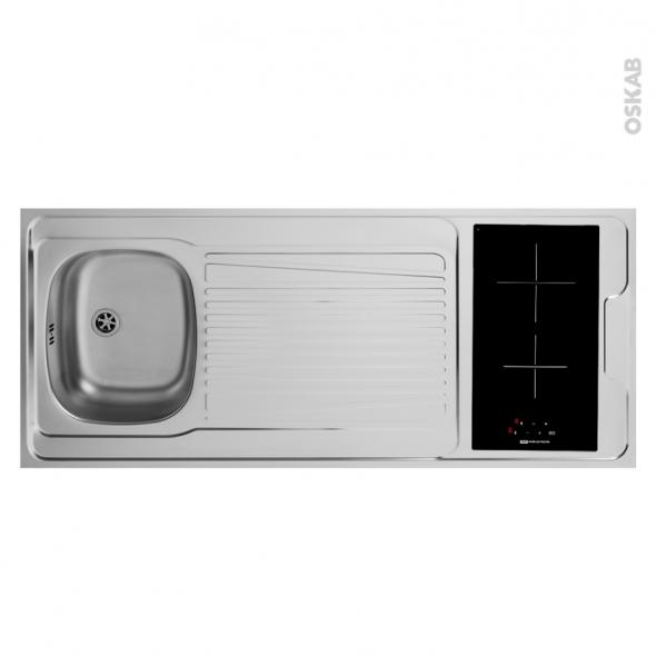 Bloc évier pour kitchenette - plaque de cuisson vitrocéramique - 4 sécurités - L140 x P60 cm - SOKLEO