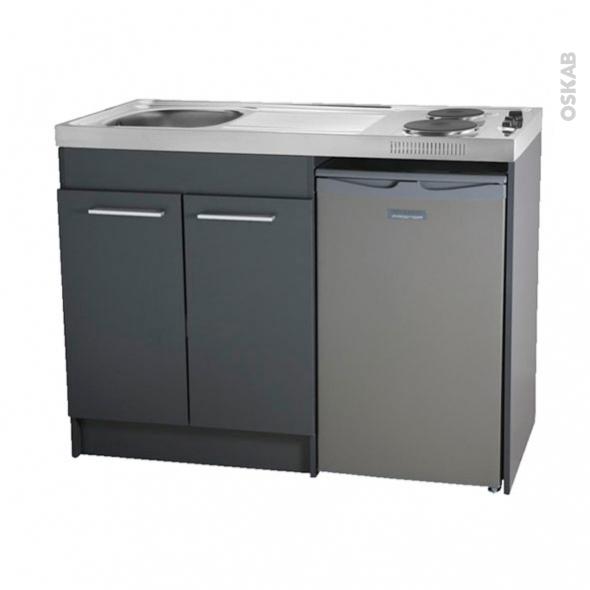 Kitchenette électrique - Meuble sous évier gris - Avec Réfrigérateur - L120 x H93 x P60 cm - SOKLEO