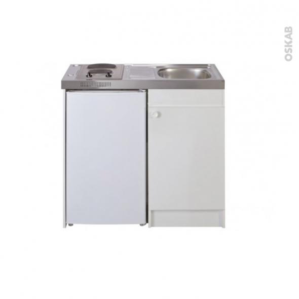 Kitchenette électrique - Meuble sous évier blanc - Avec Réfrigérateur - L100 x H93 x P60 cm - SOKLEO