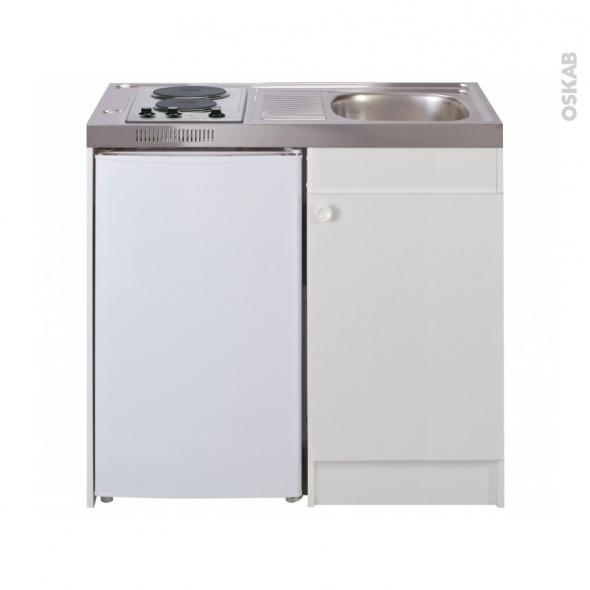Kitchenette électrique avec minuteur - Meuble sous évier blanc - Avec Réfrigérateur - L100 x H93 x P60 cm - SOKLEO