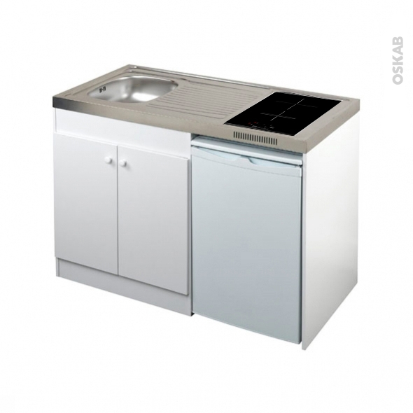 Kitchenette Induction Meuble Sous Evier Blanc Avec Refrigerateur