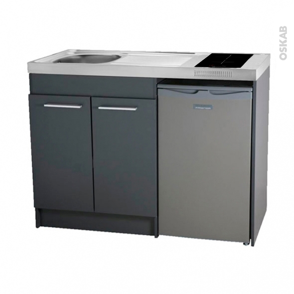 Kitchenette induction - Meuble sous évier gris - Avec Réfrigérateur - L120 x H93 x P60 cm - SOKLEO