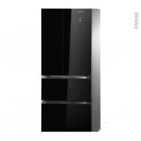 Réfrigérateur combiné 350L - Pose libre 180cm - Verre Noir - ROSIERES - RMDN184G