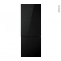 Réfrigérateur combiné 432L - Pose libre 185cm - Verre Noir - ROSIERES - RMGN7184N