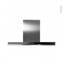 Hotte de cuisine aspirante - Box 90cm - Inox et verre noir - ROSIERES - RDSV985PN
