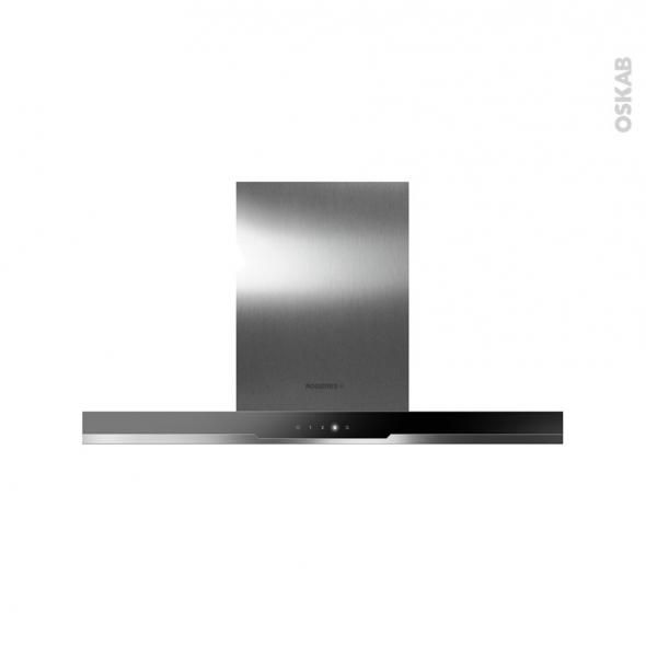 Hotte de cuisine aspirante - Ilot décorative 90cm - Inox et verre noir - ROSIERES - RDSVI985PN