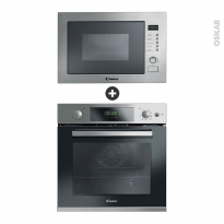 Pack design assorti - Electroménager encastrable - Inox - Four pyrolyse 70L - Micro-ondes 25L - CANDY