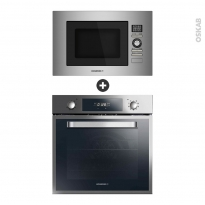 Pack design assorti - Electroménager encastrable - Inox - Four pyrolyse 70L - Micro-ondes 28L - ROSIERES