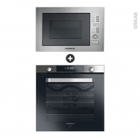 Pack design assorti - Electroménager encastrable - Inox - Four pyrolyse 80L - Micro-ondes 28L - ROSIERES
