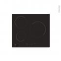 Plaque de cuisson 3 feux - Vitrocéramique  60 cm - Verre Noir - CANDY - CHK63CT