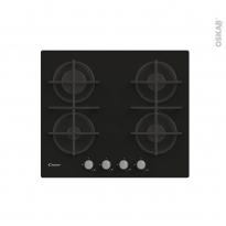 Plaque de cuisson 4 feux - Gaz 60 cm - Verre Noir -  CANDY - CDK6KB