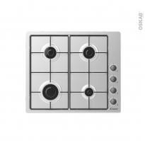Plaque de cuisson 4 feux - Gaz 60cm - Inox - CANDY - CHW6LBX