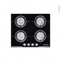 Plaque de cuisson 4 feux - Gaz 60 cm - Verre Noir - ROSIERES - RGV64SFSPN