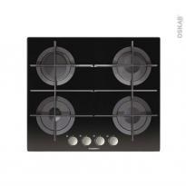 Plaque de cuisson 4 feux - Gaz 60cm - Verre Noir - ROSIERES - RGV64TFMPN