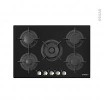 Plaque de cuisson 5 feux - Gaz 75 cm - Verre Noir - ROSIERES - RGV75WFMPN