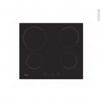 Plaque de cuisson 4 feux - Vitrocéramique 60 cm - Verre Noir - CANDY - CC64CH