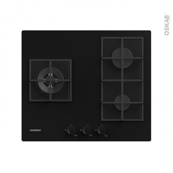 Plaque de cuisson 3 feux - Gaz - Verre Noir - ROSIERES - RDK63U4MBB