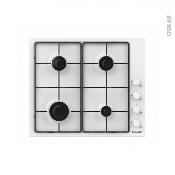 Plaque de cuisson 4 feux - Gaz 60cm - Blanc - CANDY - CHW6LWW