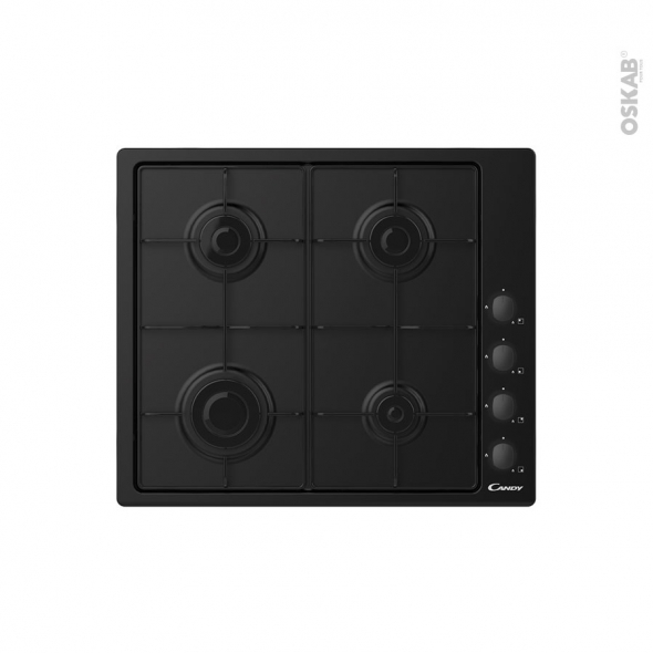 Plaque de cuisson 4 feux - Gaz 60cm - Noir - CANDY - CHW6LBB